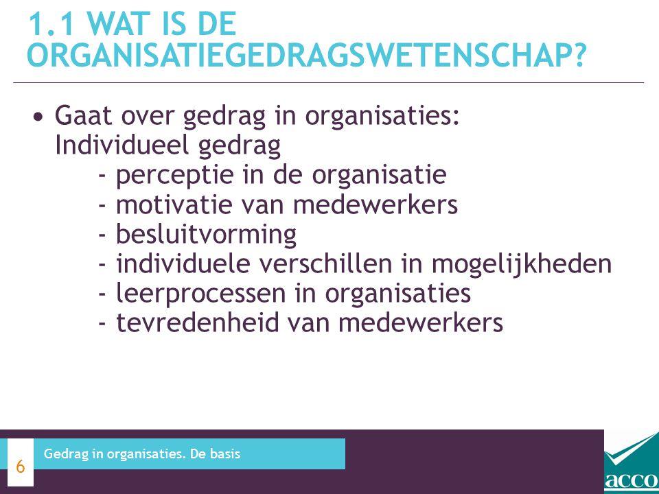 Gaat over gedrag in organisaties: Individueel gedrag - perceptie in de organisatie - motivatie van medewerkers - besluitvorming - individuele verschil