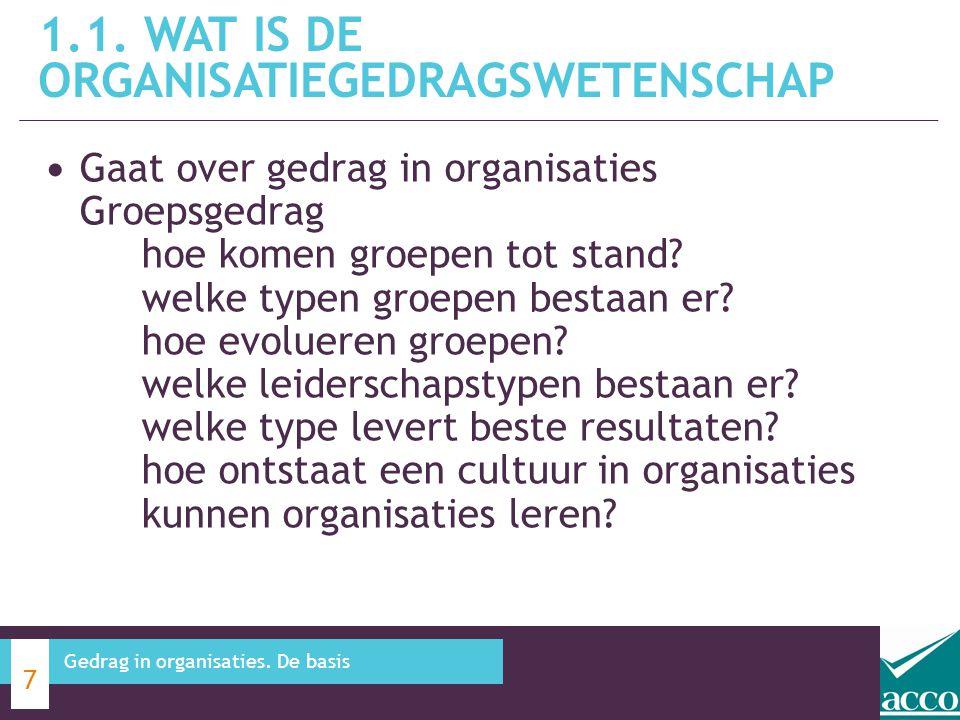 Gaat over gedrag in organisaties Groepsgedrag hoe komen groepen tot stand? welke typen groepen bestaan er? hoe evolueren groepen? welke leiderschapsty