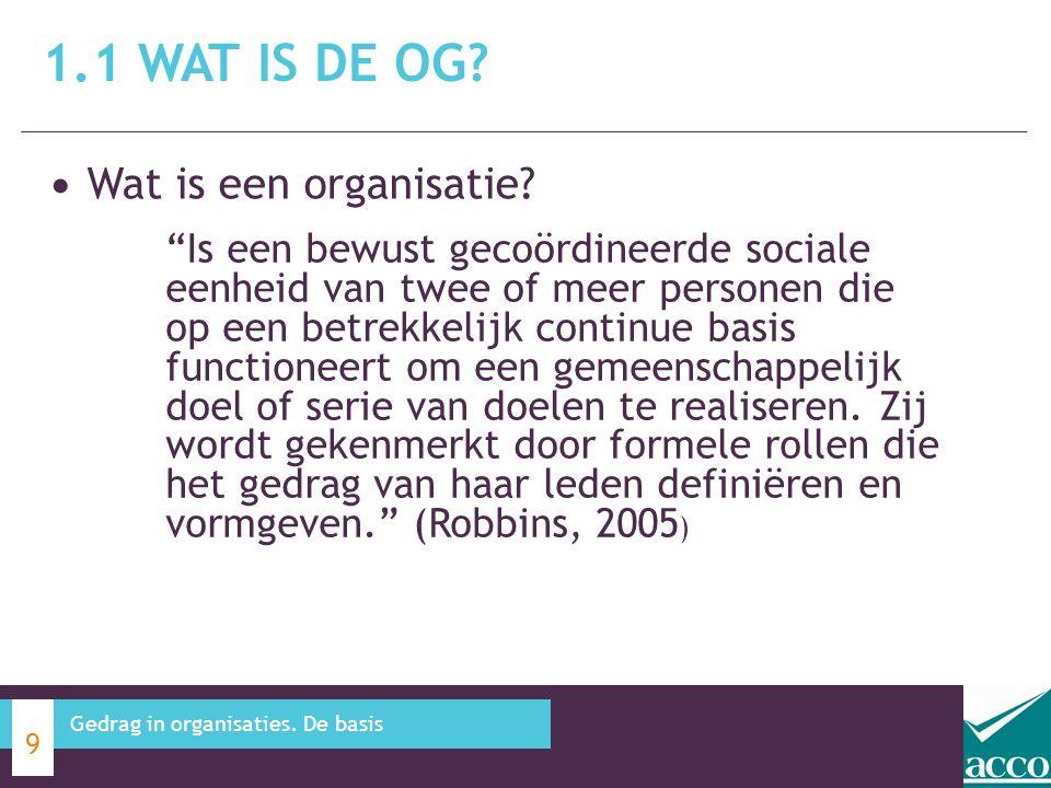 """Wat is een organisatie? 1.1 WAT IS DE OG? 9 Gedrag in organisaties. De basis """"Is een bewust gecoördineerde sociale eenheid van twee of meer personen d"""