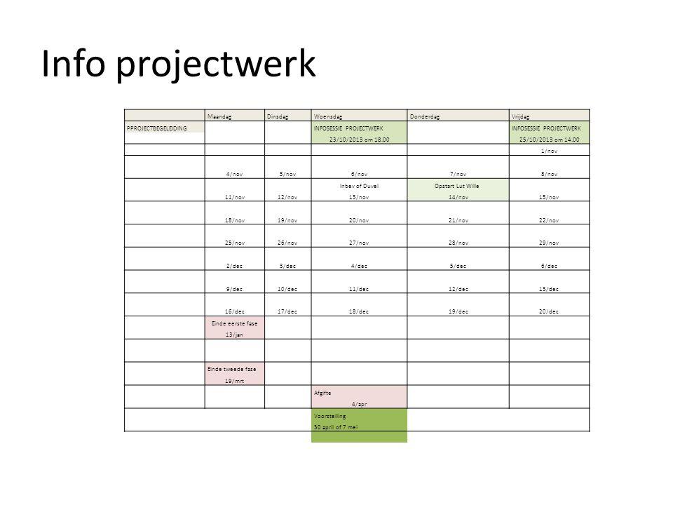 Info projectwerk MaandagDinsdagWoensdagDonderdagVrijdag PPROJECTBEGELEIDING INFOSESSIE PROJECTWERK 23/10/2013 om 18.0025/10/2013 om 14.00 1/nov 4/nov5