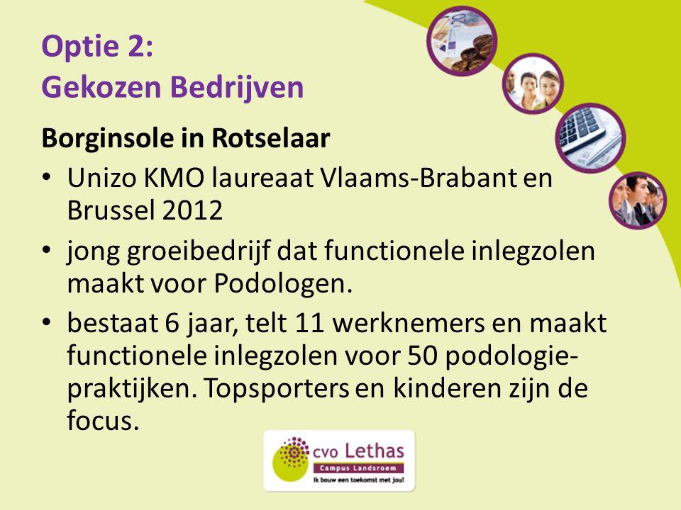 Optie 2: Gekozen Bedrijven Borginsole in Rotselaar Unizo KMO laureaat Vlaams-Brabant en Brussel 2012 jong groeibedrijf dat functionele inlegzolen maak