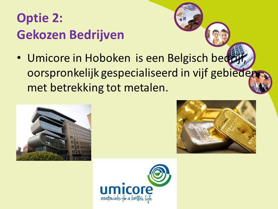 Umicore in Hoboken is een Belgisch bedrijf, oorspronkelijk gespecialiseerd in vijf gebieden met betrekking tot metalen.