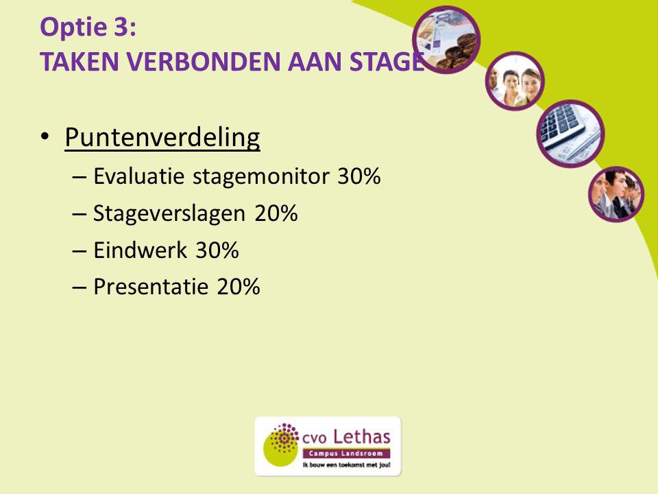 Optie 3: TAKEN VERBONDEN AAN STAGE Puntenverdeling – Evaluatie stagemonitor 30% – Stageverslagen 20% – Eindwerk 30% – Presentatie 20%