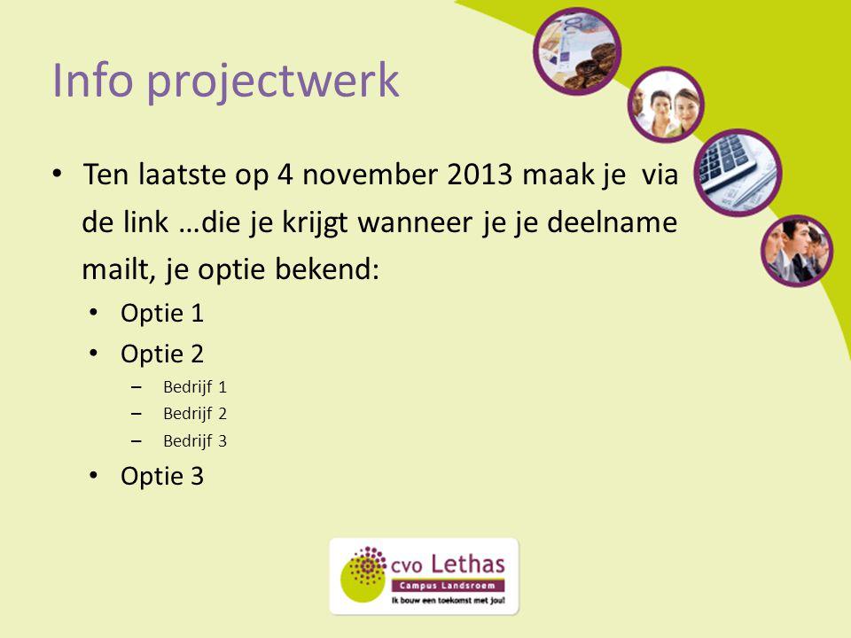Info projectwerk Ten laatste op 4 november 2013 maak je via de link …die je krijgt wanneer je je deelname mailt, je optie bekend: Optie 1 Optie 2 – Be