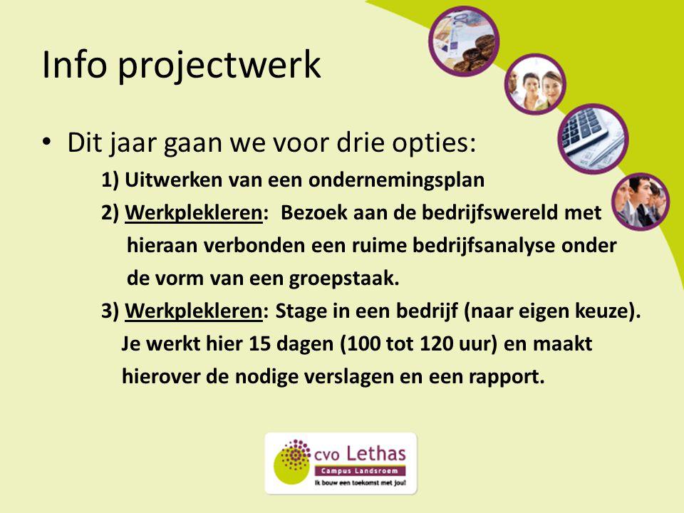 Info projectwerk Dit jaar gaan we voor drie opties: 1) Uitwerken van een ondernemingsplan 2) Werkplekleren: Bezoek aan de bedrijfswereld met hieraan v