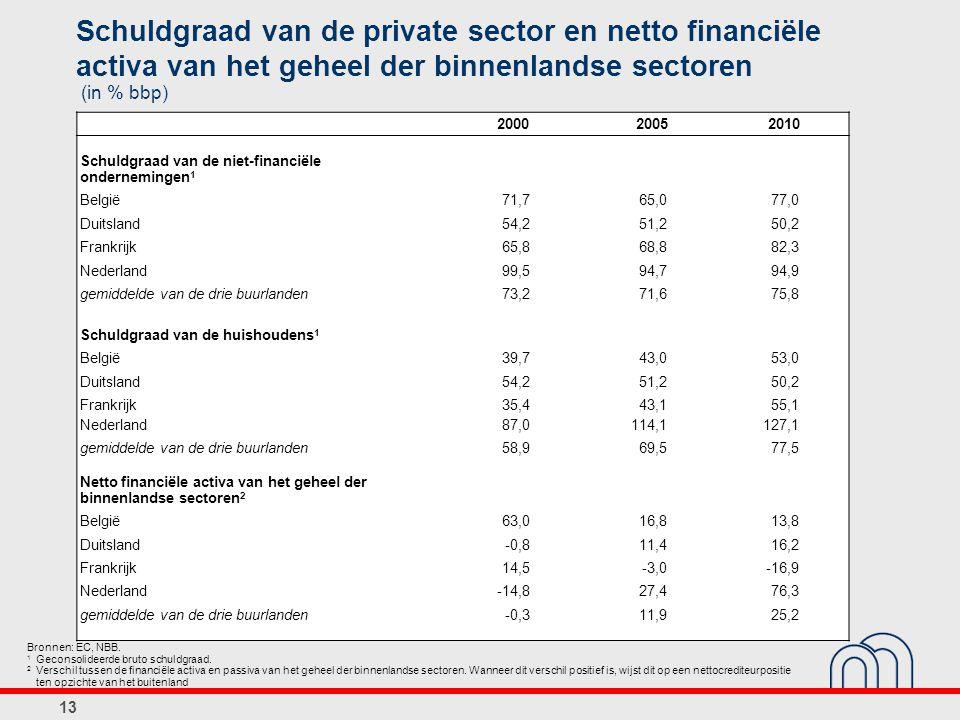13 Schuldgraad van de private sector en netto financiële activa van het geheel der binnenlandse sectoren (in % bbp) Bronnen: EC, NBB.