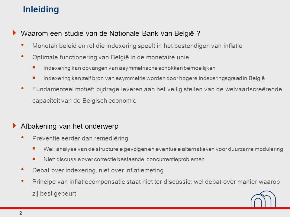 Inleiding  Waarom een studie van de Nationale Bank van België ? Monetair beleid en rol die indexering speelt in het bestendigen van inflatie Optimale