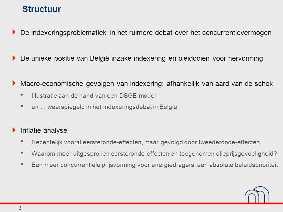 Structuur  Indexering in België Werking van het loonindexeringsmechanisme en implicaties voor de loonkostendynamiek en concurrentiepositie tov de drie buurlanden Prijsindexering en implicaties voor de inflatiedynamiek  Op zoek naar alternatieven Counterfactual : macro-economische weerslag van alternatieve indexeringsmechanismen gedurende de periode 2007-2010 Enkele aandachtspunten wat betreft de eventuele operationalisering van alternatieve indexeringsmechanismen 4