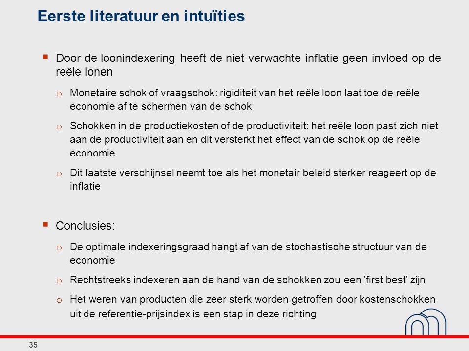 35 Eerste literatuur en intuïties  Door de loonindexering heeft de niet-verwachte inflatie geen invloed op de reële lonen o Monetaire schok of vraags