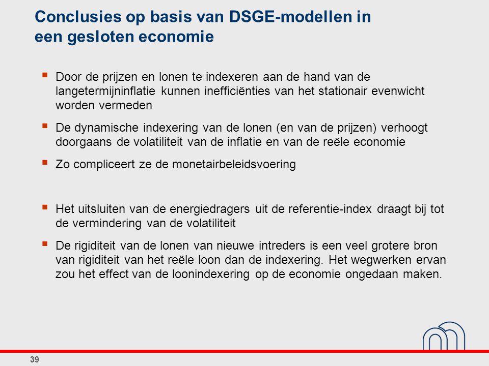 39 Conclusies op basis van DSGE-modellen in een gesloten economie  Door de prijzen en lonen te indexeren aan de hand van de langetermijninflatie kunn