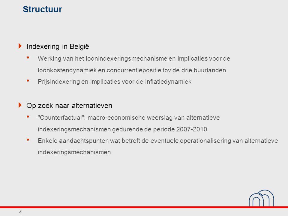 Conclusies aangaande concurrentievermogen van de Belgische economie in ruime zin  Genuanceerd beeld: behoorlijke prestaties in het verleden; troeven voor de toekomst maar ook uitdagingen  Uitdagingen: overheidsfinanciën arbeidsmarkt extern concurrentievermogen  Beheerst (loon)kostenverloop blijft van belang zowel vanuit oogpunt extern concurrentievermogen als de benodigde tewerkstellingscreatie ook al zijn andere elementen eveneens van belang: niet- prijsconcurrentievermogen, verbetering arbeidsaanbod,...