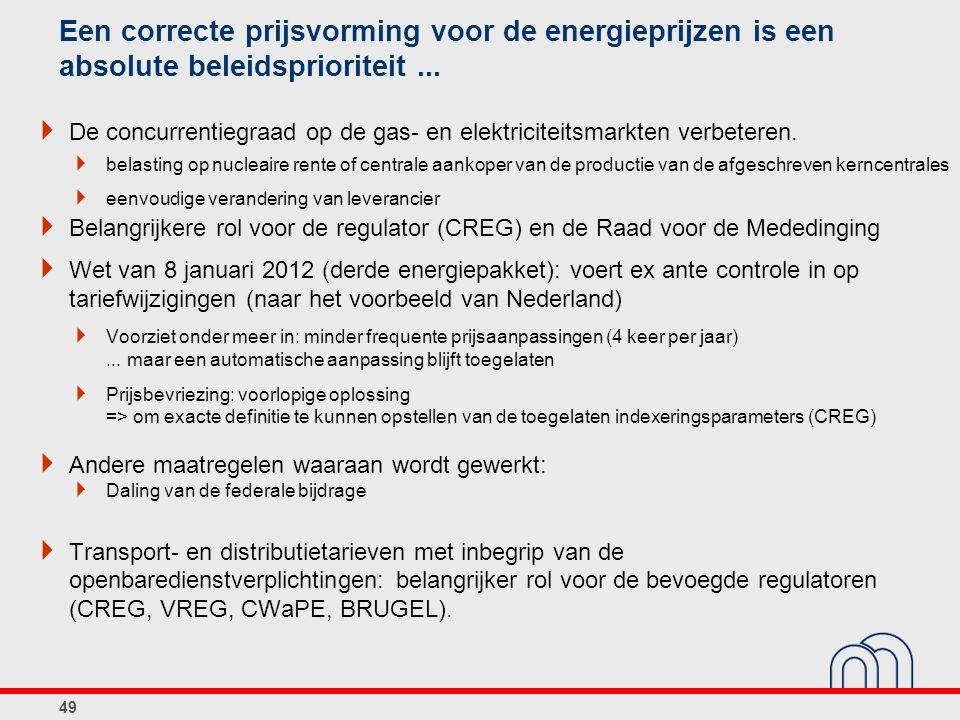 Een correcte prijsvorming voor de energieprijzen is een absolute beleidsprioriteit...  De concurrentiegraad op de gas- en elektriciteitsmarkten verbe
