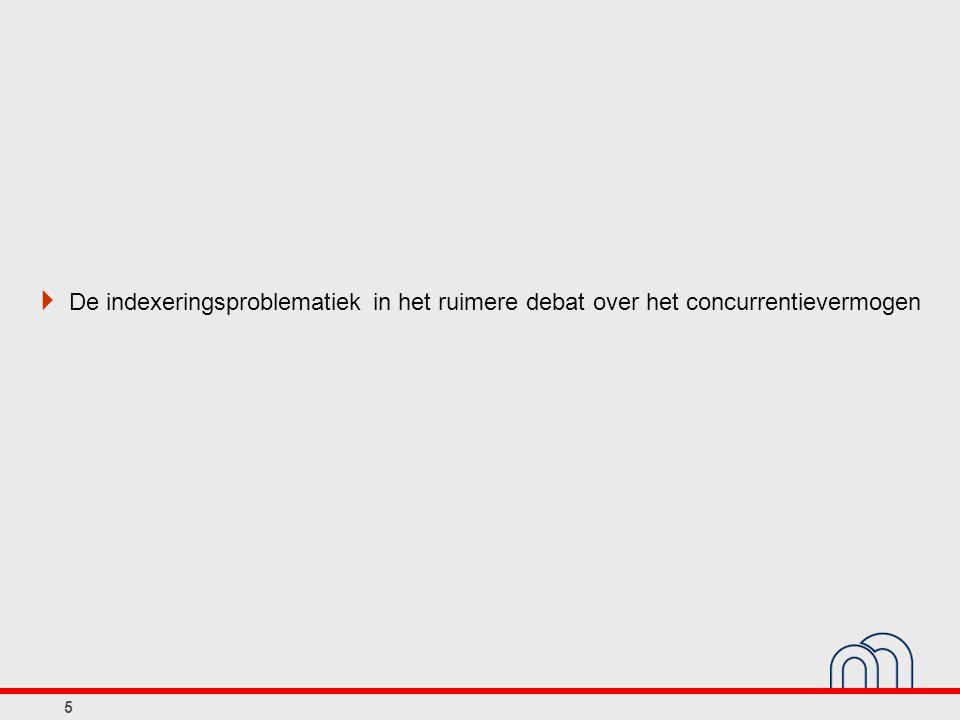 Uurloon per werknemer in België en in de buurlanden 56 (seizoengezuiverde kwartaalgegevens)  Opgepast voor misverstanden:  Indexering leidt niet noodzakelijk tot snellere nominale loonstijging (BE < FR en NL)  Afwezigheid van indexering leidt niet tot permanente erosie reële lonen (koopkracht) FR en NL > BE en zelfs DE gemiddeld geen daling reëel loon Compensatie voor nominale trend in de economie kan andere vormen aannemen  Afwezigheid van indexering vergemakkelijkt wel neerwaartse aanpassing van reële lonen tijdens bepaalde periodes Duitsland 2004 - 2008 BelgiëDuitslandFrankrijkNederland BelgiëDuitslandFrankrijkNederland