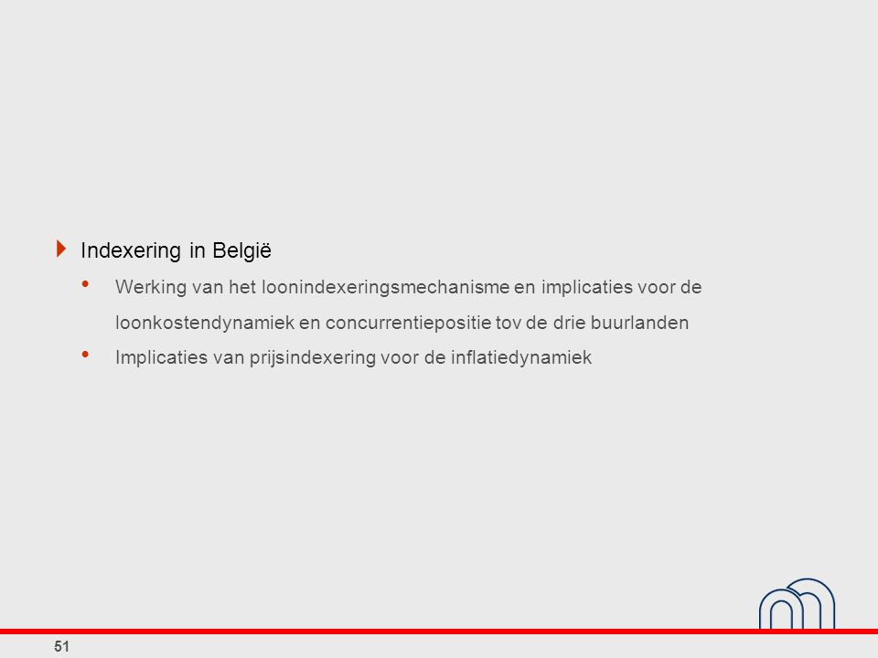  Indexering in België Werking van het loonindexeringsmechanisme en implicaties voor de loonkostendynamiek en concurrentiepositie tov de drie buurlanden Implicaties van prijsindexering voor de inflatiedynamiek 51