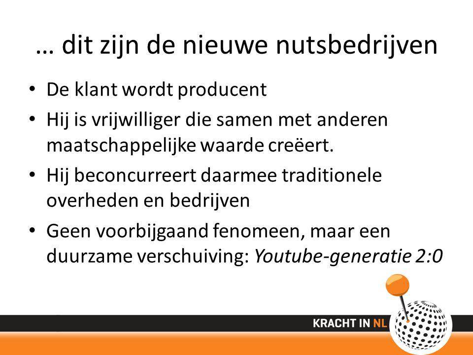… dit zijn de nieuwe nutsbedrijven De klant wordt producent Hij is vrijwilliger die samen met anderen maatschappelijke waarde creëert.