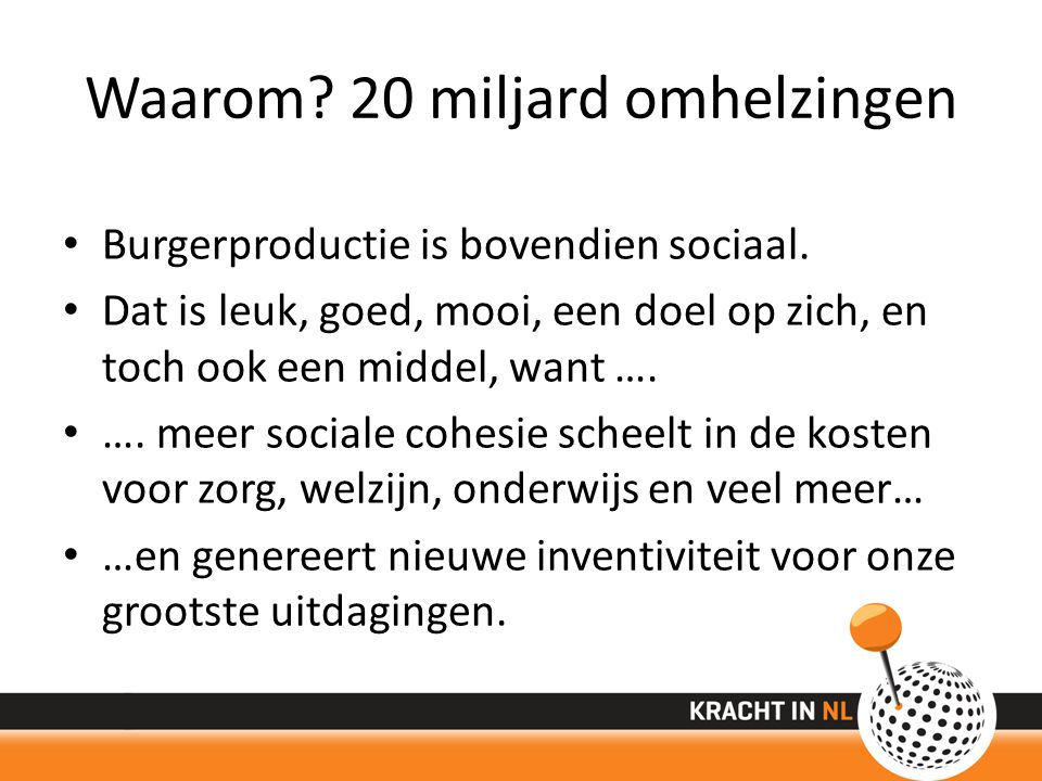 Waarom. 20 miljard omhelzingen Burgerproductie is bovendien sociaal.