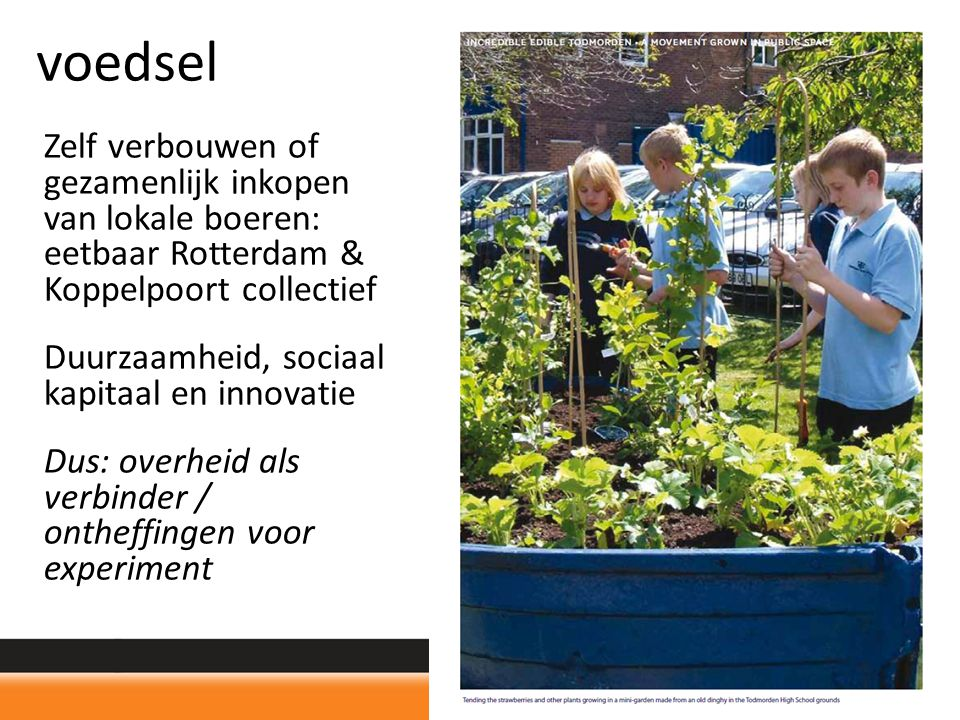 voedsel Zelf verbouwen of gezamenlijk inkopen van lokale boeren: eetbaar Rotterdam & Koppelpoort collectief Duurzaamheid, sociaal kapitaal en innovatie Dus: overheid als verbinder / ontheffingen voor experiment