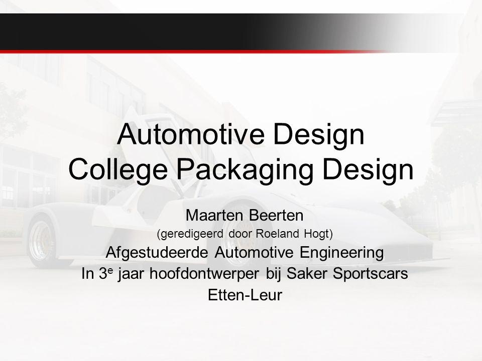 Inhoudsopgaven Wat is packaging ontwerp Welke specialiteiten zijn er Concurrentie Welke belangrijke componenten zijn er –Aandrijving –Personen –Energie opslag –Ophanging –Specifieke belading Waarop baseer je je voertuig Form follows function Opdracht
