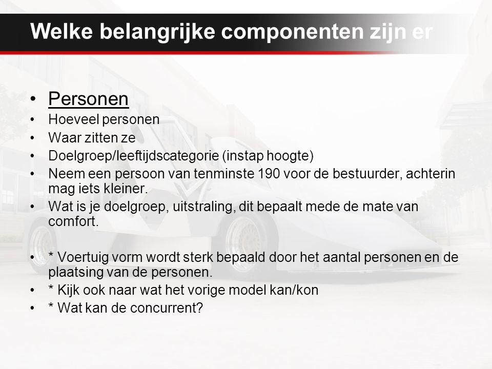 Welke belangrijke componenten zijn er Personen Hoeveel personen Waar zitten ze Doelgroep/leeftijdscategorie (instap hoogte) Neem een persoon van tenminste 190 voor de bestuurder, achterin mag iets kleiner.