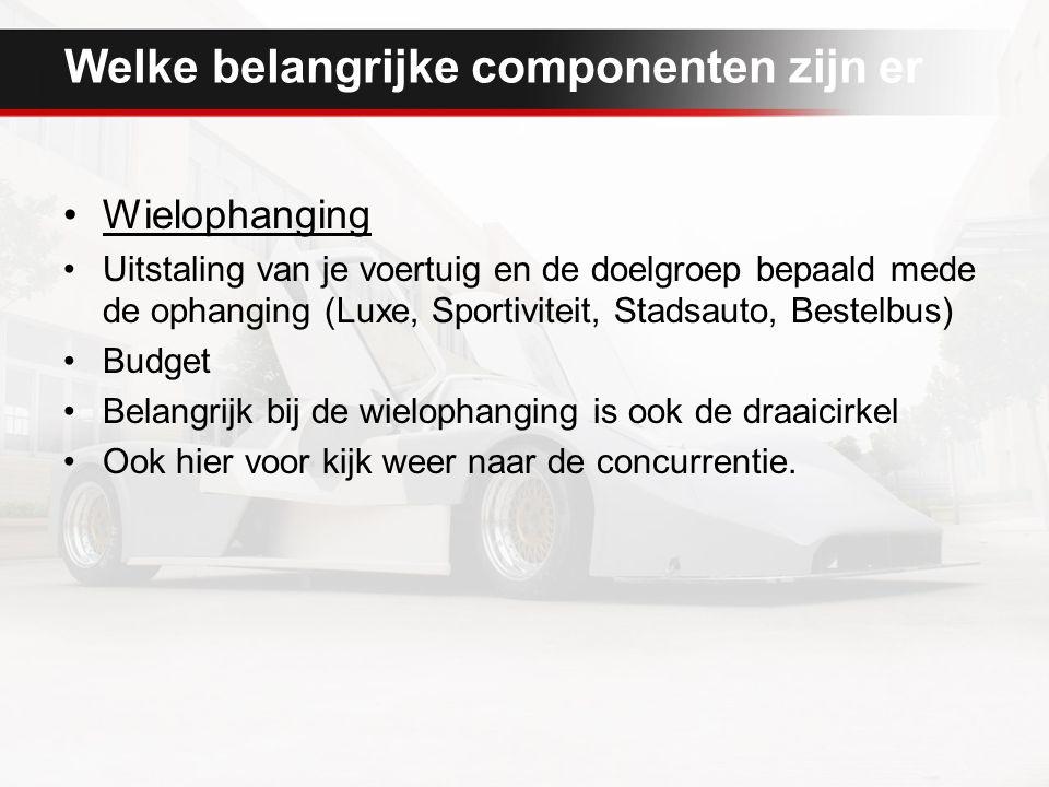 Welke belangrijke componenten zijn er Wielophanging Uitstaling van je voertuig en de doelgroep bepaald mede de ophanging (Luxe, Sportiviteit, Stadsauto, Bestelbus) Budget Belangrijk bij de wielophanging is ook de draaicirkel Ook hier voor kijk weer naar de concurrentie.
