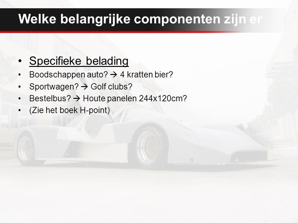 Welke belangrijke componenten zijn er Specifieke belading Boodschappen auto?  4 kratten bier? Sportwagen?  Golf clubs? Bestelbus?  Houte panelen 24