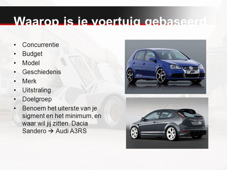 Waarop is je voertuig gebaseerd Concurrentie Budget Model Geschiedenis Merk Uitstraling Doelgroep Benoem het uiterste van je sigment en het minimum, e