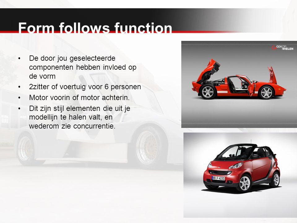 Form follows function De door jou geselecteerde componenten hebben invloed op de vorm 2zitter of voertuig voor 6 personen Motor voorin of motor achter