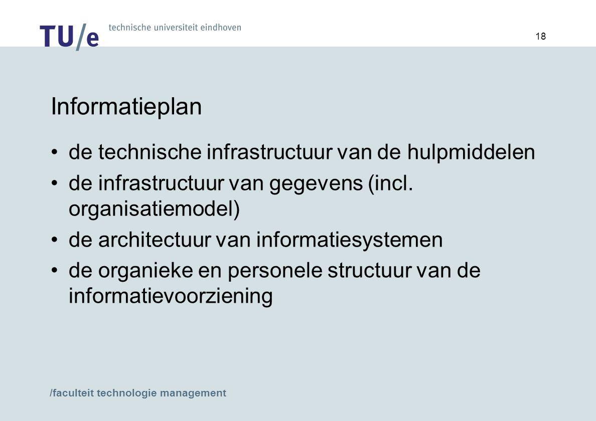 /faculteit technologie management 18 Informatieplan de technische infrastructuur van de hulpmiddelen de infrastructuur van gegevens (incl.