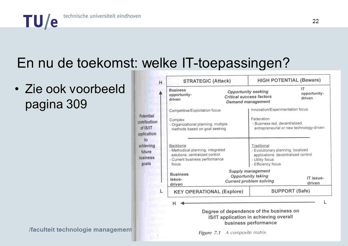 /faculteit technologie management 22 En nu de toekomst: welke IT-toepassingen.