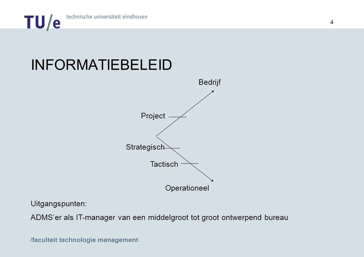 /faculteit technologie management 4 INFORMATIEBELEID Bedrijf Project Operationeel Uitgangspunten: ADMS'er als IT-manager van een middelgroot tot groot ontwerpend bureau Strategisch Tactisch