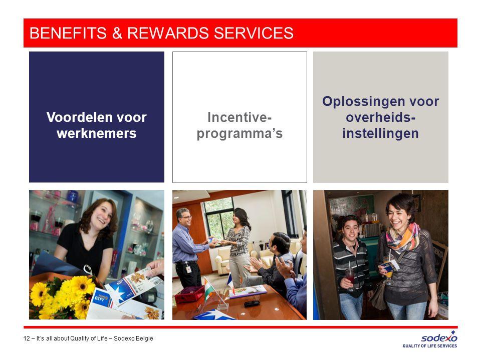 BENEFITS & REWARDS SERVICES 12 –It's all about Quality of Life – Sodexo België Voordelen voor werknemers Incentive- programma's Oplossingen voor overh