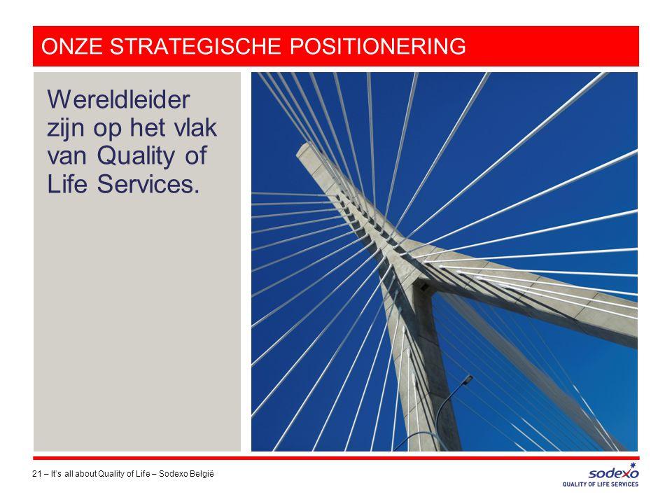 ONZE STRATEGISCHE POSITIONERING 21 –It's all about Quality of Life – Sodexo België Wereldleider zijn op het vlak van Quality of Life Services.