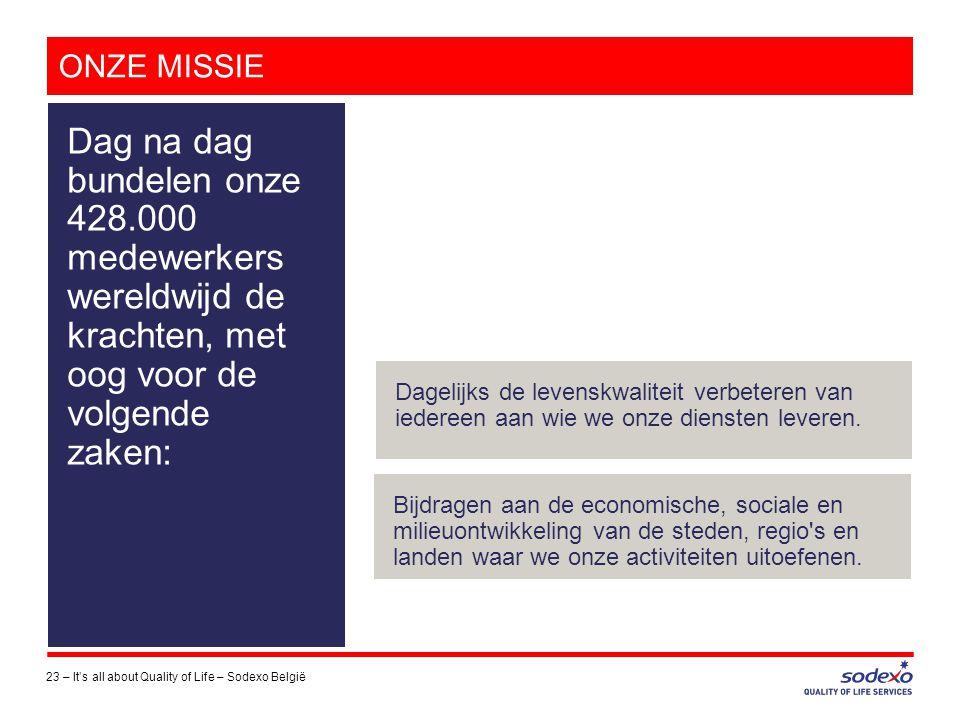 ONZE MISSIE 23 –It's all about Quality of Life – Sodexo België Dag na dag bundelen onze 428.000 medewerkers wereldwijd de krachten, met oog voor de vo