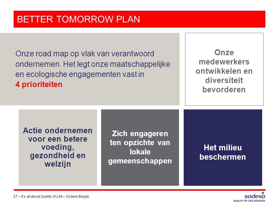 BETTER TOMORROW PLAN 27 –It's all about Quality of Life – Sodexo België Onze road map op vlak van verantwoord ondernemen. Het legt onze maatschappelij