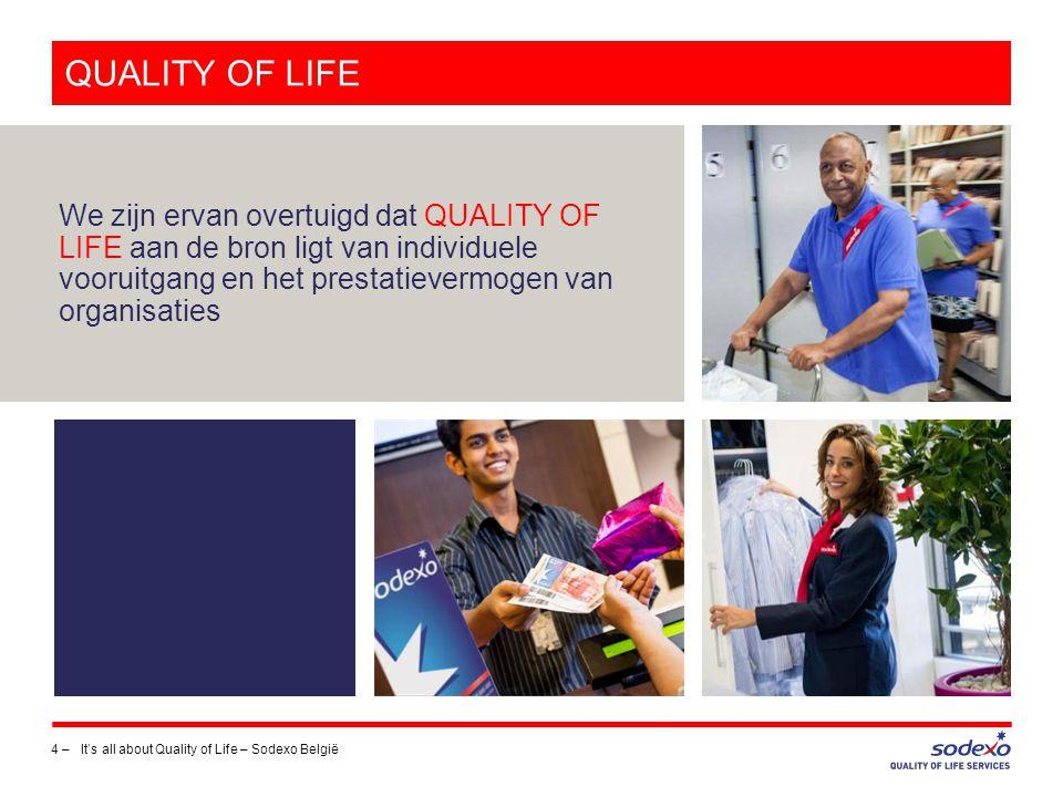 SODEXO BELGIË – CIJFERS 2012-2013 15 –It's all about Quality of Life – Sodexo België € 380 miljoen omzet 4000 medewerkers 70.000 klanten Sodexo Benefits & Rewards Services 1 Belg op 4 dagelijks in contact met Sodexo 1200 sites