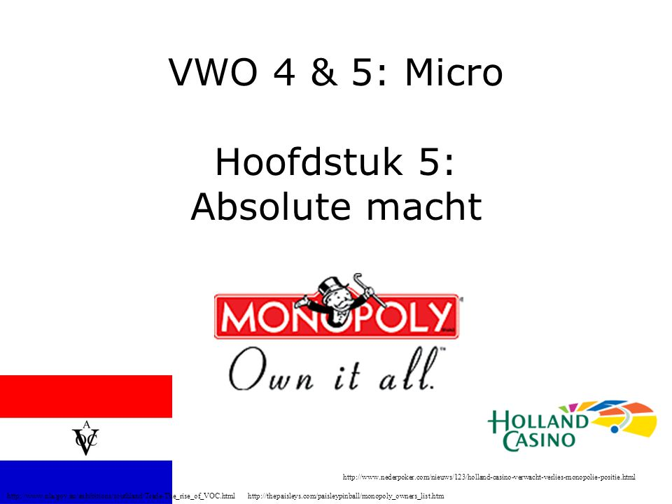 VWO 4 & 5: Micro Hoofdstuk 5: Absolute macht http://thepaisleys.com/paisleypinball/monopoly_owners_list.htmhttp://www.nla.gov.au/exhibitions/southland