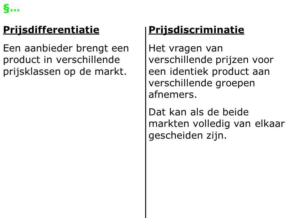 §… PrijsdifferentiatiePrijsdiscriminatie Een aanbieder brengt een product in verschillende prijsklassen op de markt. Het vragen van verschillende prij