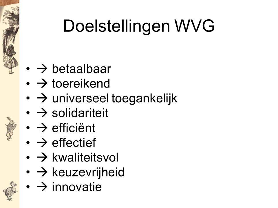 Doelstellingen WVG  betaalbaar  toereikend  universeel toegankelijk  solidariteit  efficiënt  effectief  kwaliteitsvol  keuzevrijheid  innovatie