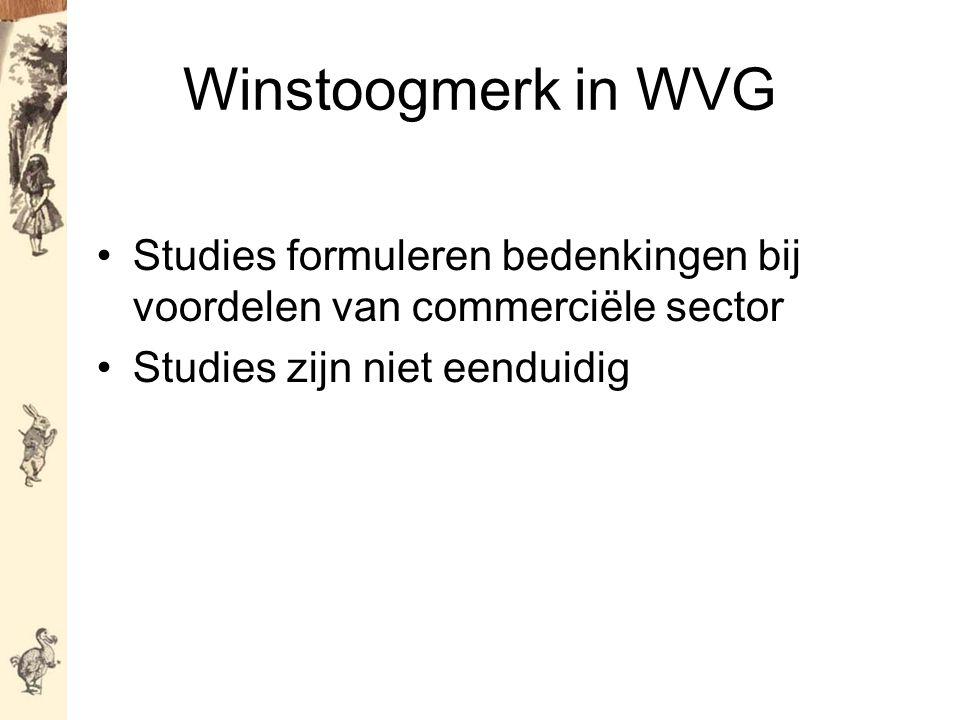 Winstoogmerk in WVG Studies formuleren bedenkingen bij voordelen van commerciële sector Studies zijn niet eenduidig