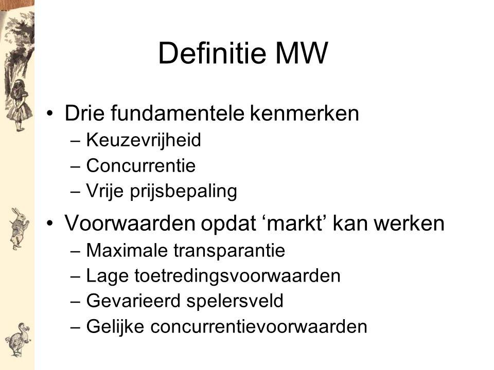 Definitie MW Drie fundamentele kenmerken –Keuzevrijheid –Concurrentie –Vrije prijsbepaling Voorwaarden opdat 'markt' kan werken –Maximale transparantie –Lage toetredingsvoorwaarden –Gevarieerd spelersveld –Gelijke concurrentievoorwaarden