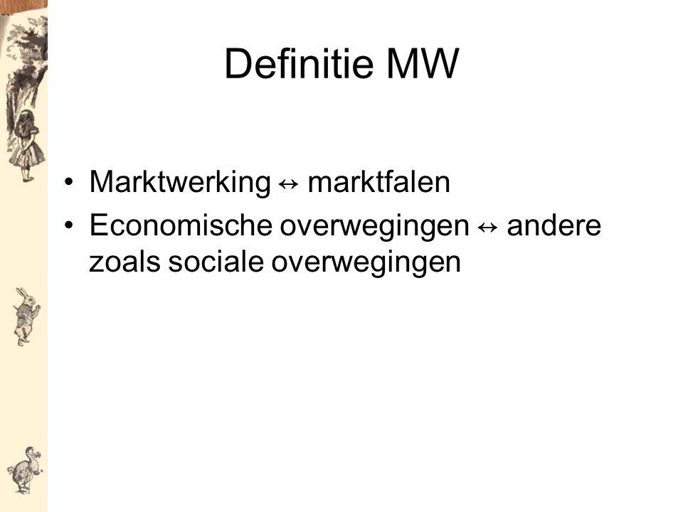 Definitie MW Marktwerking ↔ marktfalen Economische overwegingen ↔ andere zoals sociale overwegingen