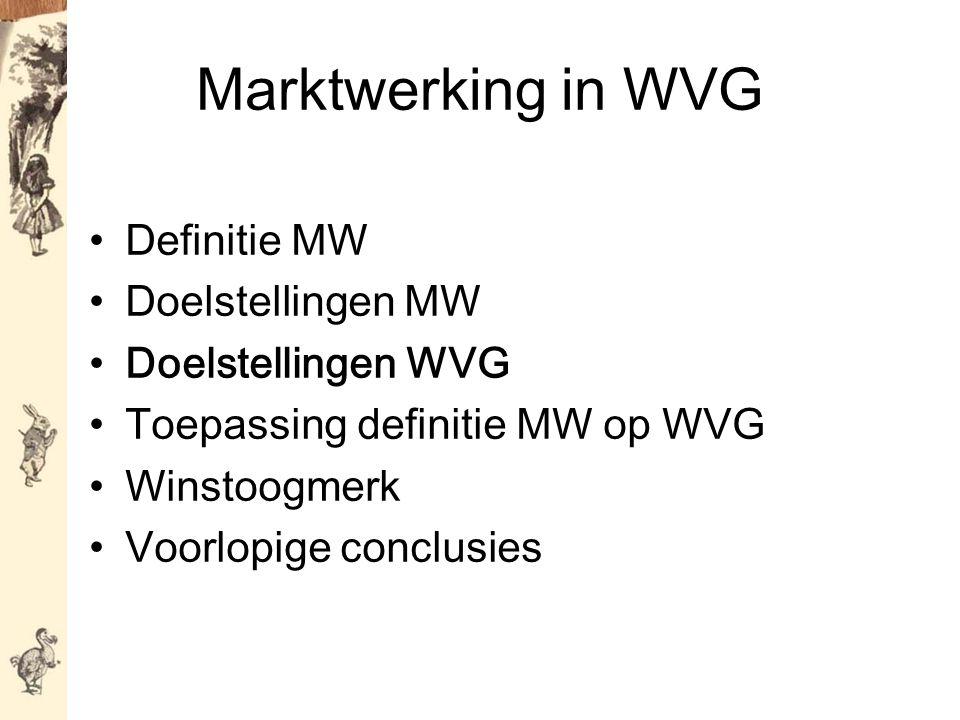 Marktwerking in WVG Definitie MW Doelstellingen MW Doelstellingen WVG Toepassing definitie MW op WVG Winstoogmerk Voorlopige conclusies