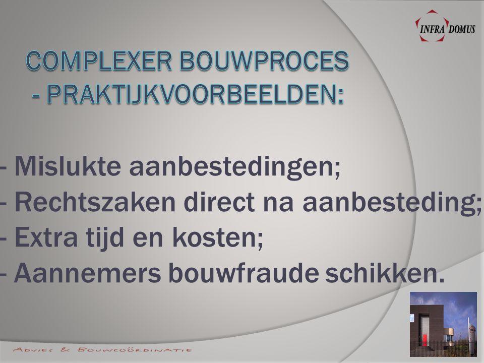 - Mislukte aanbestedingen; - Rechtszaken direct na aanbesteding; - Extra tijd en kosten; - Aannemers bouwfraude schikken.
