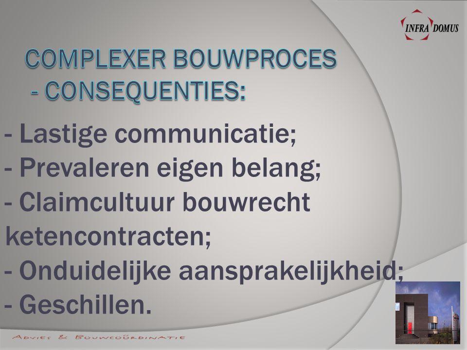 - Lastige communicatie; - Prevaleren eigen belang; - Claimcultuur bouwrecht ketencontracten; - Onduidelijke aansprakelijkheid; - Geschillen.