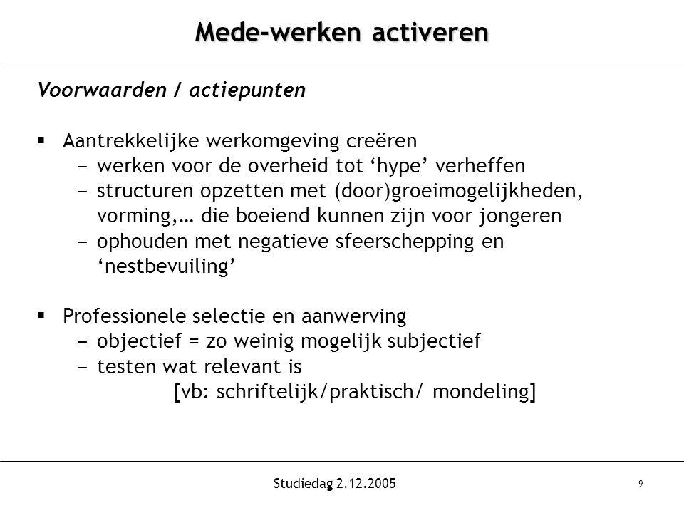 Studiedag 2.12.2005 9 Mede-werken activeren Voorwaarden / actiepunten  Aantrekkelijke werkomgeving creëren - werken voor de overheid tot 'hype' verheffen - structuren opzetten met (door)groeimogelijkheden, vorming,… die boeiend kunnen zijn voor jongeren - ophouden met negatieve sfeerschepping en 'nestbevuiling'  Professionele selectie en aanwerving - objectief = zo weinig mogelijk subjectief - testen wat relevant is [vb: schriftelijk/praktisch/ mondeling]