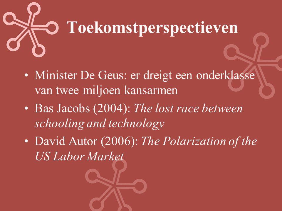 Toekomstperspectieven Minister De Geus: er dreigt een onderklasse van twee miljoen kansarmen Bas Jacobs (2004): The lost race between schooling and te