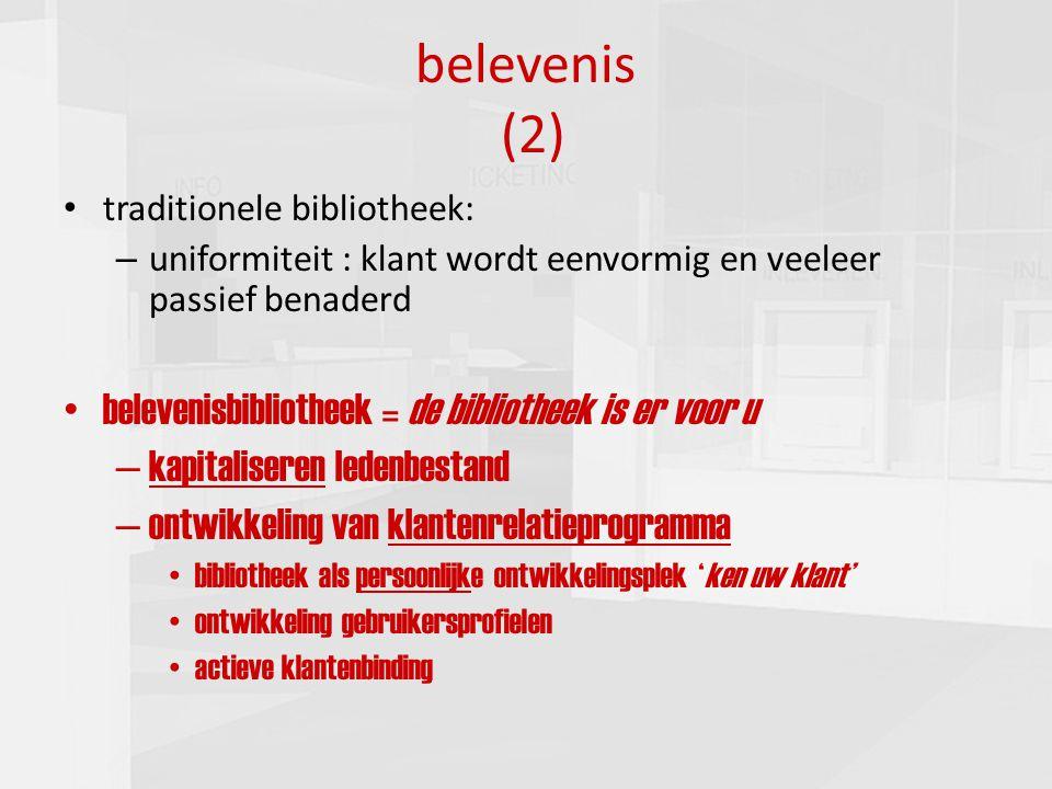 presentatie commissie cultuur 16-03-201010 belevenis (2) traditionele bibliotheek: – uniformiteit : klant wordt eenvormig en veeleer passief benaderd