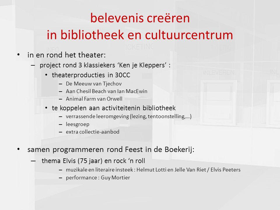 presentatie commissie cultuur 16-03-201015 belevenis creëren in bibliotheek en cultuurcentrum in en rond het theater: – project rond 3 klassiekers 'Ke