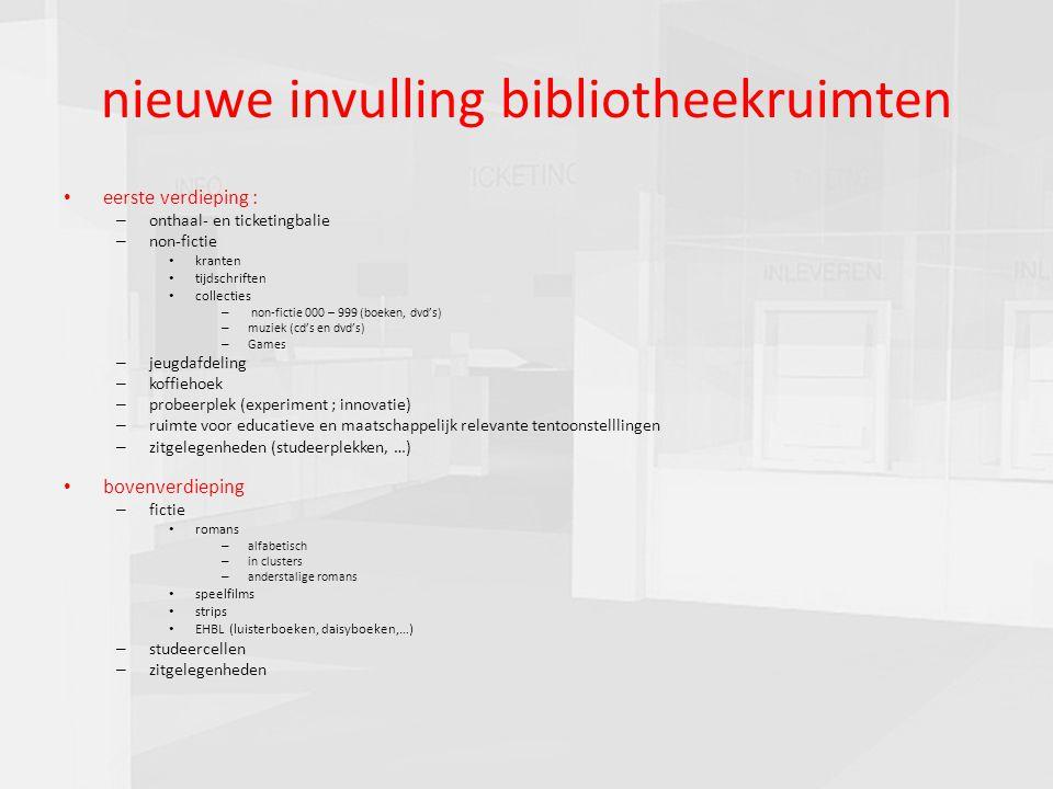 presentatie commissie cultuur 16-03-201018 nieuwe invulling bibliotheekruimten eerste verdieping : – onthaal- en ticketingbalie – non-fictie kranten t
