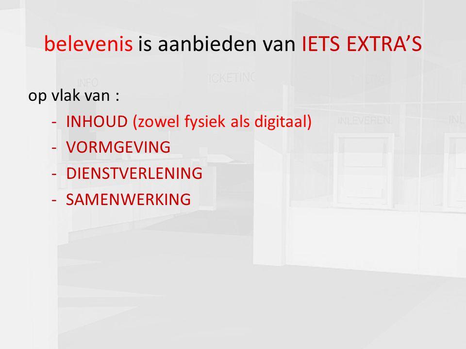 7 belevenis is aanbieden van IETS EXTRA'S op vlak van : -INHOUD (zowel fysiek als digitaal) -VORMGEVING -DIENSTVERLENING -SAMENWERKING
